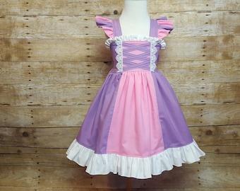 Rapunzel Inspired Girls Toddler Disney Everyday Princess Dress, Sizes 12 months to 12 Girls