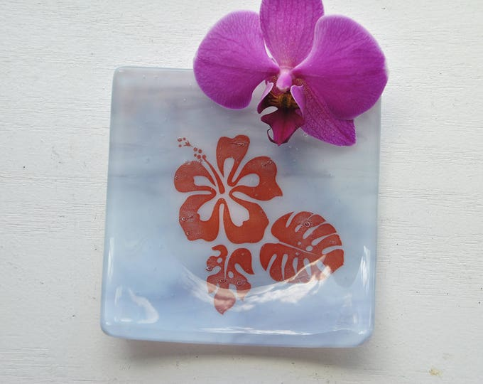 Lavender Hibiscus Fused Glass Dish/Plate