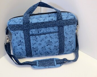 Crossbody  Quilted Laptop Bag in Blues