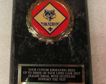 Cub Scout Award Plaque Free Custom Engraving Ships 2 Day Priority Mail Same Day!!