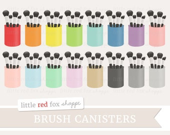 Makeup Brush Clipart, Canister Clip Art, Make Up Brushes Clipart, Beauty Clipart, Holder Cute Digital Graphic Design Small Commercial Use