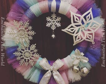 Christmas wreath, frozen inspired wreath, blue, purple, white and silver shimmer tulle wreath, ornament wreath with bow