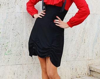 Extravagant Black Jumper Dress , Black Jersey Dress, Black Overall Dress, TDK275 by TEYXO