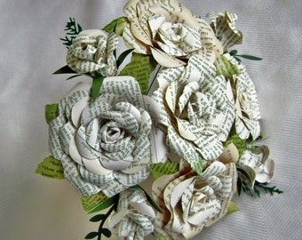 Book page recycled paper rose bouquet alternative wedding buds and blooms book page bouquet with leaves wedding bride bridesmaid toss centerpiece recycled paper flowers mightylinksfo Choice Image