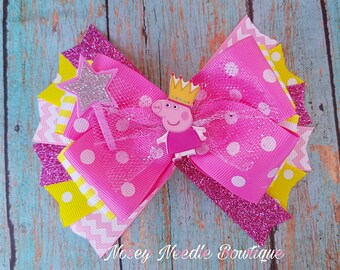 Peppa Pig hair bow, Peppa Pig hair clip, Peppa Pig headband, Peppa pig bow, Hair bow, Peppa Pig birthday, Peppa Pig hairbow, Peppa Pig bow