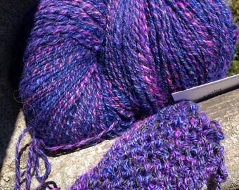 Handpainted Yarn, Handspun Wool Art Yarn, Black, Blue, Purple, Magenta Wool - -Knit, Crochet, Weave, Felt, Crafts