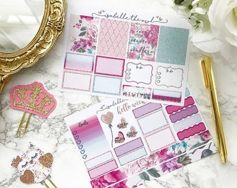 Vertical Summer Florals Personal Sized Weekly Planner Stickers
