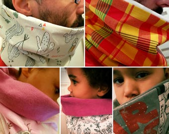 Snood neck fabric print and fleece for adults and children