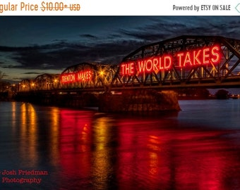 SALE 20% Off Trenton Makes Bridge at Twilight Fine Art Photograph Reflection Delaware River New Jersey Bucks County Pennsylvania Lower Trent