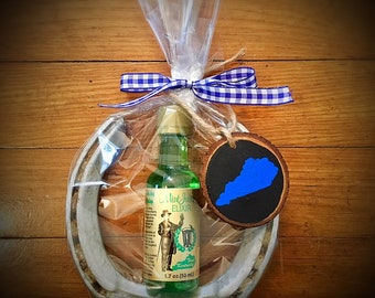 Kentucky Horse Shoe with Mint Julip Elixer and Ornament Gift Set