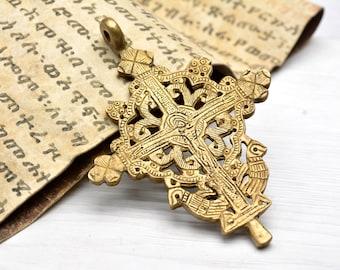 Byzantine jewelry, Brass Pendant, brass, pendant, ethnic, Jesus, crucified