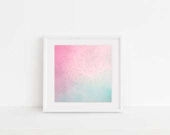 Digital Download, Digital Print, Original Photography, Wall Art, Home Decor, Nursery Art, Birds, Pastels, Pink and Blue, Wander, Pastel Sky