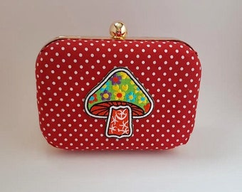 Clutch bag Silver with beautiful red polka dots and bunnies