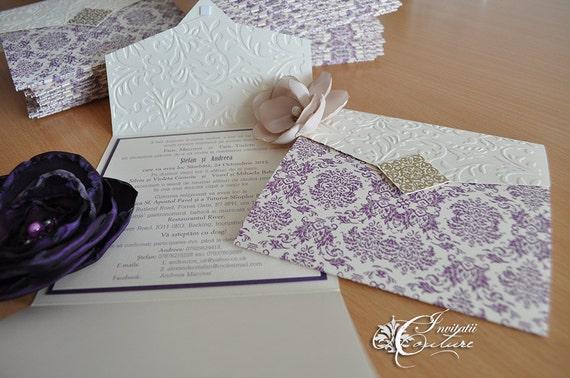 Cream And Gold Wedding Invitations: Purple Gold Cream Damask Wedding Invitation