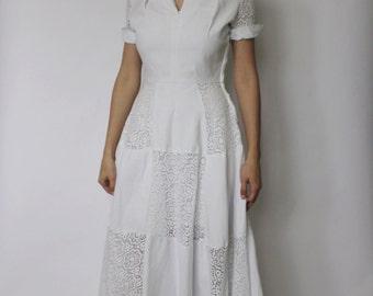 Vintage 1940s Dress | 1950s White Wedding Dress | Wedding Dress | White Lace Dress | XS - S