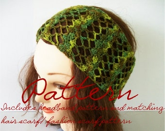 Crochet Pattern: Lacy Stripes Wide Headband/ Hair Scarf/ Lace Scarf