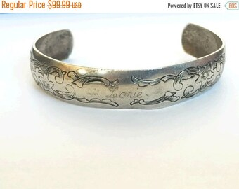 SALE NOW Vintage S Kirk and Son Cuff Sterling Cuff Bracelet, 70s Vintage Sterling Cuff, Scroll work Cuff, Bohemian Cuff, Boho Chic S
