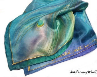 Blue green HANDPAINTED silk scarf. MADE to ORDER square silk scarf. Peacock Scarf. free gift wrap. Birthday gift for mom. Scarves for woman