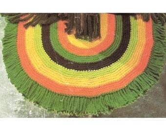 Hand Crochet RUG Pattern for Oval Rug with Fringe - PDF Pattern Download - Vintage Area Rug Crochet Pattern - Painted Desert Rug