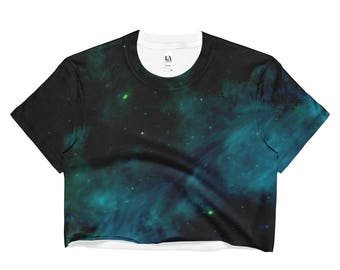 Ladies Crop Top Blue Galaxy