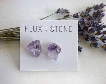 Amethyst Gemstone Studs // Semiprecious Stone Earrings