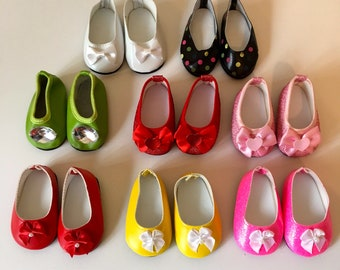 18 Inch Doll Shoes/Glitter Doll Shoes/Shoes With Bows Fits Like American Girl Doll Shoes