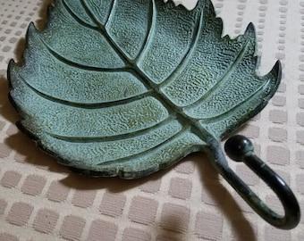 Green leaf door hook hanger heavy verdigris patina metal brass