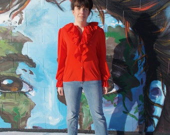 vintage red ruffle blouse romantic spanish gypsy bib blouse - 70s