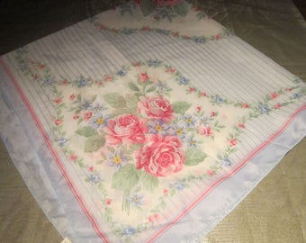 Avon Pink Rose Scarf Vintage 1993 Light Blue White Background Polyester Head Neck Shoulder Scarf Clothing Accessories Korea