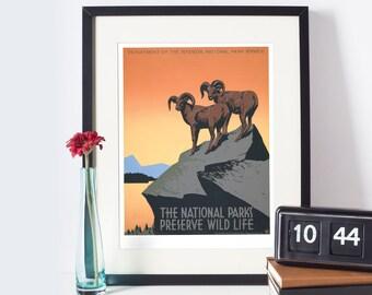 National Parks Preserve Wild Life | Vintage poster, vintage wall art, vintage travel poster | Nature, outdoors | High quality