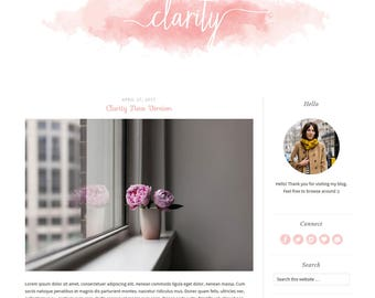 UPDATED  CLARITY Wordpress Theme - Premade blog template - Pink Feminine Watercolor Wordpress theme - Responsive Genesis child theme
