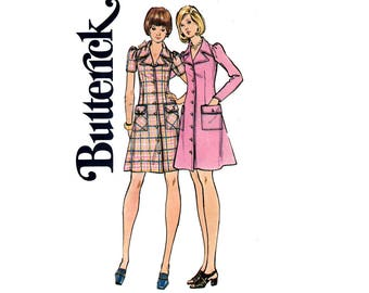 Butterick 3011 Womens Kawaii Cute Puff Sleeve Shirtdress with Wide Collar & Pockets70s  Vintage Sewing Pattern Size 14  Bust 36 inches