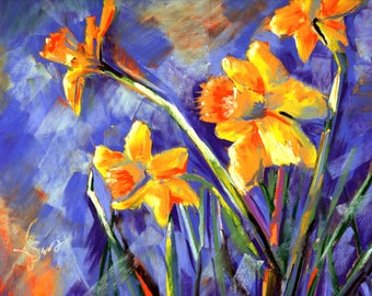 Mrs. Lee's Daffodils - Original Pastel Painting by Artist Valorie Sams