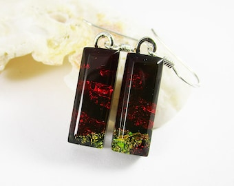 Dangle Earrings Deep Red Earrings Sterling Silver Wires Hand Faceted Fused Glass Cabochon Modern Bridesmaid Gift Dichroic Earrings