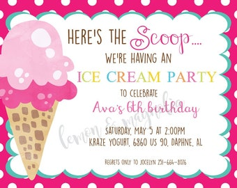 Here's the Scoop Birthday Party Invitation