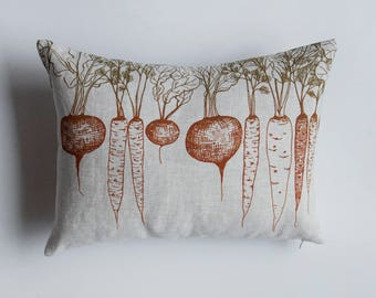 Root Vegetables Linen Pillow Cover. Cushion Cover. Pillow Case. Throw Pillow. Throw Cushion. Linen Cushion. Lumbar cushion. Accent Pillow.