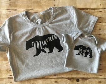 Mama Bear Baby Bear Shirt Set, Mother's Day Gift, Matching mom baby shirts, Mother's Day shirt, Matching outfits, Mommy and me outfits