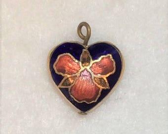 Blue Cloisonne and Iris Heart Shaped Pendant