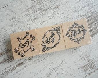 "Wooden stamps set ""merci"""
