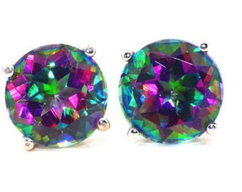 Natural Mystic Topaz Round Stud Earrings .925 Sterling Silver Rhodium Finish