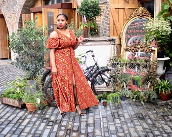 Ava African Print Maxi Dress