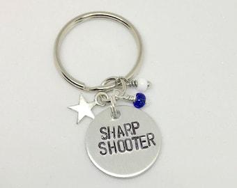 "Voltron Legendary Defender Lance Inpired Hand-Stamped Keychain - ""Sharp Shooter"""