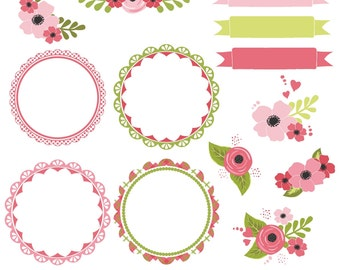 Flower Clipart, Flower Clip Art, Pink Frames, Frame Clipart, Pink Flowers, Printable, Commercial Use