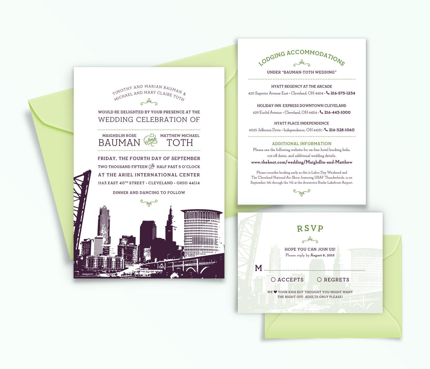 Cleveland ohio city skyline 5 piece wedding invitation description cleveland ohio city skyline wedding invitation monicamarmolfo Image collections