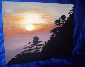 China Sunrise, Handpainted Original painting .