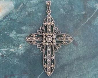Marcasite 925 Sterling Silver Vintage Cross Pendant