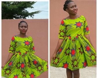African pleated dress, African print, Ankara fabric, African clothing, Ankara dress, midi dress, African dress, Women clothing