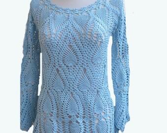 Blue Crochet sweater, crochet blouse, made to order, unique crochet, handmade, Spring Fashion, romantic feminine, crochet beach tunic