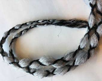 READY to SHIP Silver White Gray Grey Black 2 Wrap Braids Single Ended Synthetic Dreadlocks Dread Fall Hair Extensions