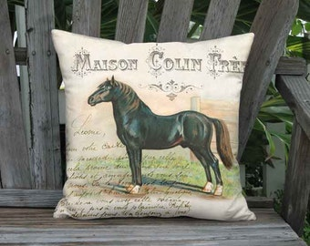 16x16 Inch - READY TO SHIP - Linen Cotton Schleswig Horse Pillow with Insert - French Country Farm Horse Pillow - Farmhouse Equine Cushion